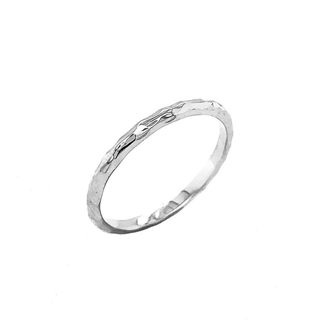Handmade 1.9MM Hammered Wedding Band in Sterling Silver