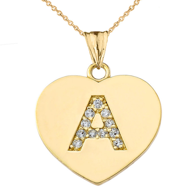 Diamond Initial A-Z Heart Pendant Necklace in Yellow Gold
