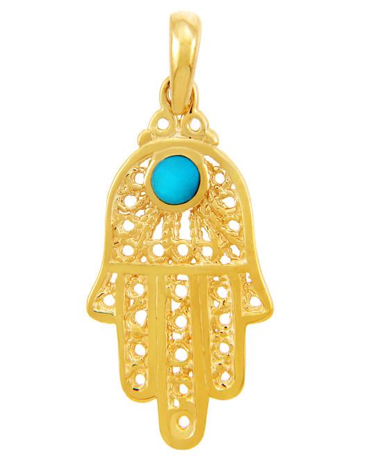 Jewish Charms and Pendants - Yellow Gold Turquoise Filigree Hamsa Pendant