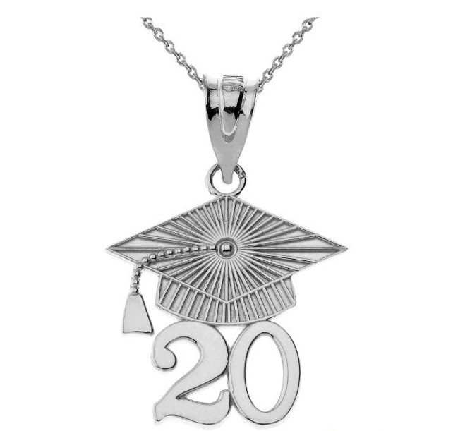 Sterling  Silver 2020 Graduation Cap Pendant Necklace