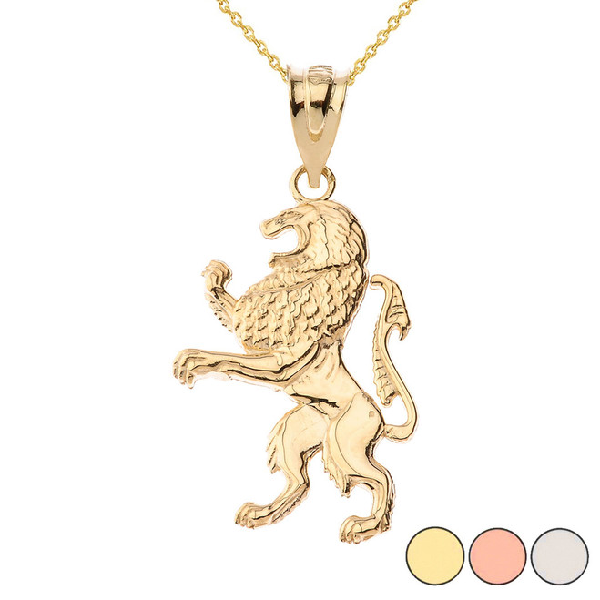 Lion of Judah Pendant Necklace in Gold (Yellow/Rose/White)