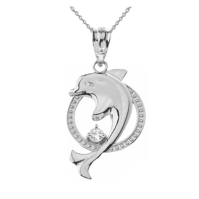 Sterling Silver Hoop Jumping Dolphin CZ Pendant Necklace