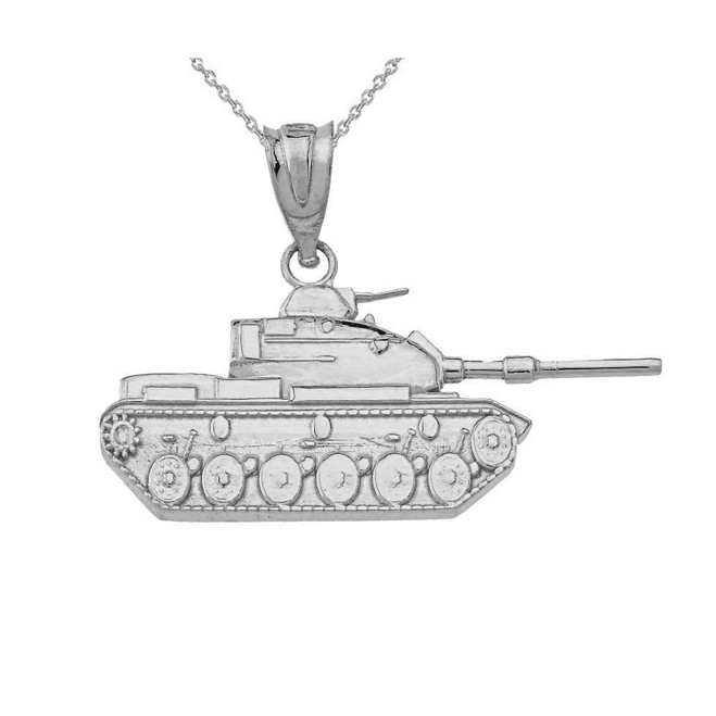 Sterling Silver Military Tank Pendant Necklace