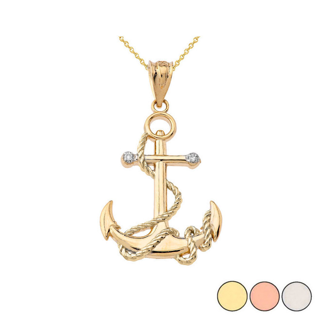 Diamond Nautical Rope Anchor Pendant Necklace in Gold (Yellow/Rose/White)