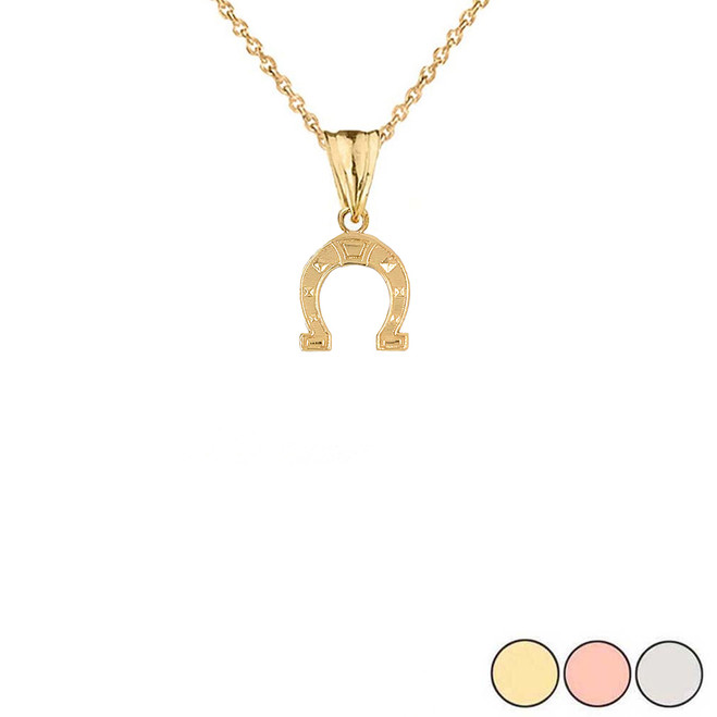 Horsehoe Charm Pendant Necklace in Gold (Yellow/Rose/White) (Small)