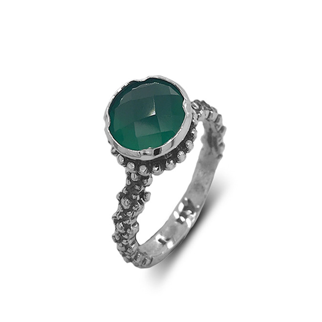 Sterling Silver Checkerboard Green Agate Statement Ring
