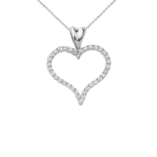 Diamond Open Heart Charm Pendant Necklace in Sterling Silver