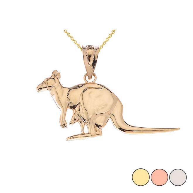 Polished Kangaroo Pendant Necklace in Gold (Yellow/Rose/White)