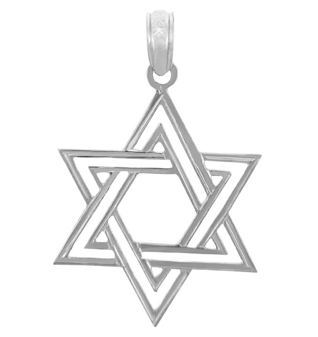 Jewish Charms and Pendants - Double White Gold Star of David Pendant