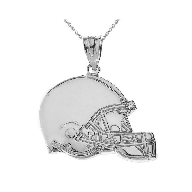 Sterling Silver Football Helmet Pendant Necklace