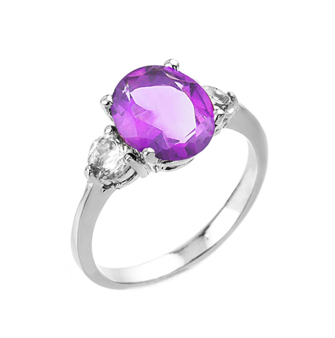 Sterling Silver Genuine Amethyst and White Topaz Gemstone Engagement Ring