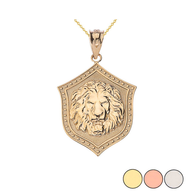 Lion Shield Pendant Necklace in Gold (Yellow/Rose/White)