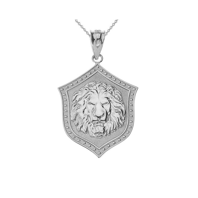 Sterling Silver Lion Shield Pendant Necklace