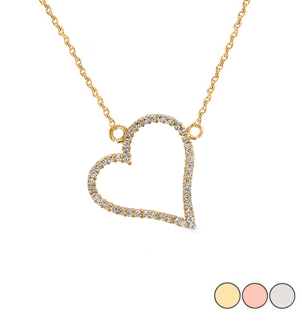 Dainty Studded Heart Necklace in 14k Gold (Yellow/Rose/White)