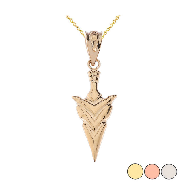 Spear Point Arrowhead Pendant Necklace in Gold (Yellow/Rose/White)