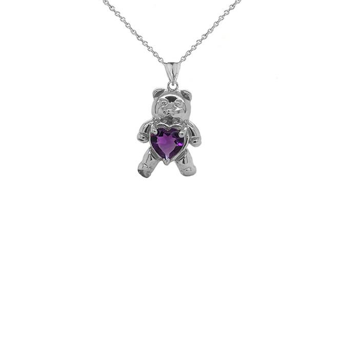 Teddy Bear Amethyst Heart Charm Pendant Necklace in Sterling Silver