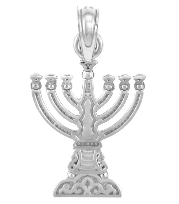 Jewish Gold Pendants - White Gold Menorah Pendant Small