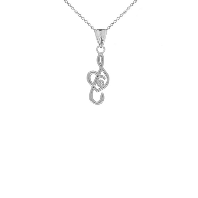 Dainty Diamond Treble Clef Heart Music Note Pendant Necklace in Sterling Silver