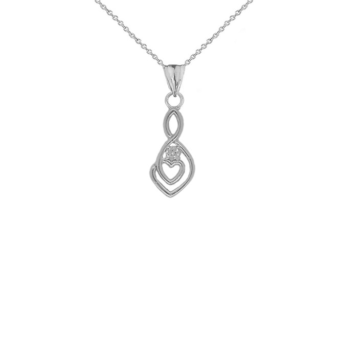 Dainty Diamond Infinity Double Heart Pendant Necklace in Sterling Silver