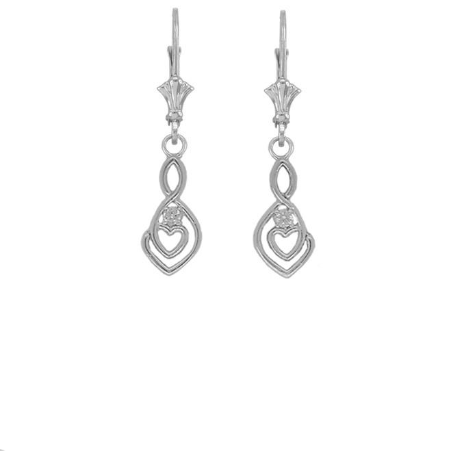 Dainty Diamond Infinity Double Heart Earrings in Sterling Silver