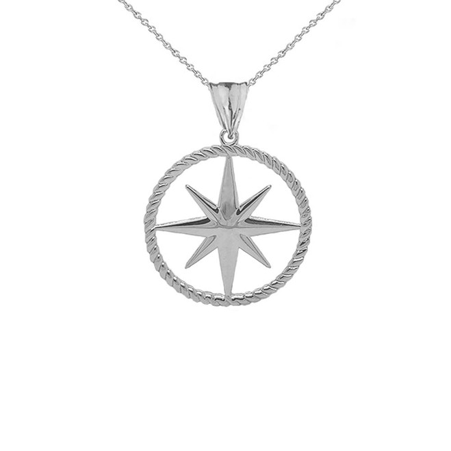 Northern Star Round Rope Pendant Necklace in Sterling Silver