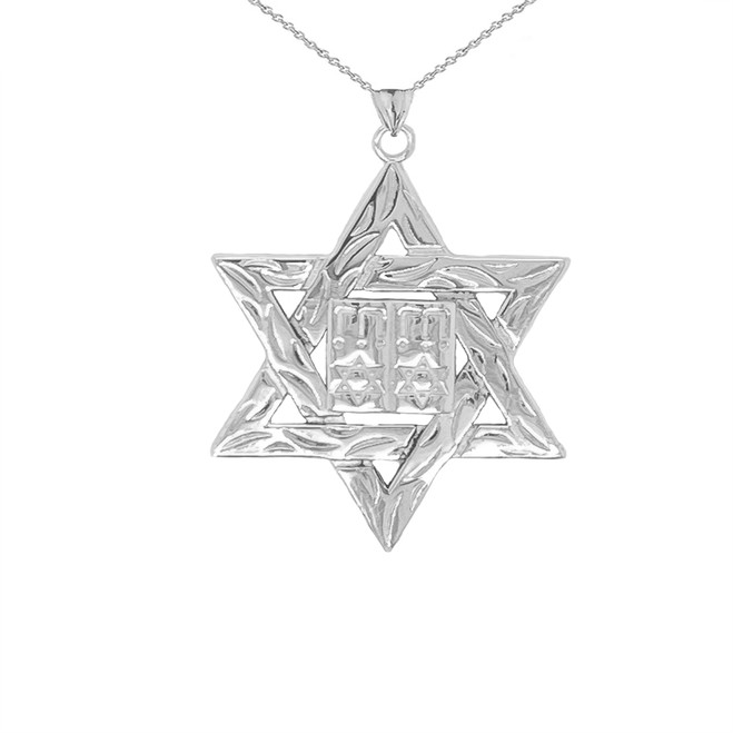 Detailed Star of David (Hebrew) Ten Commandment Book Pendant Necklace in Sterling Silver (Small)