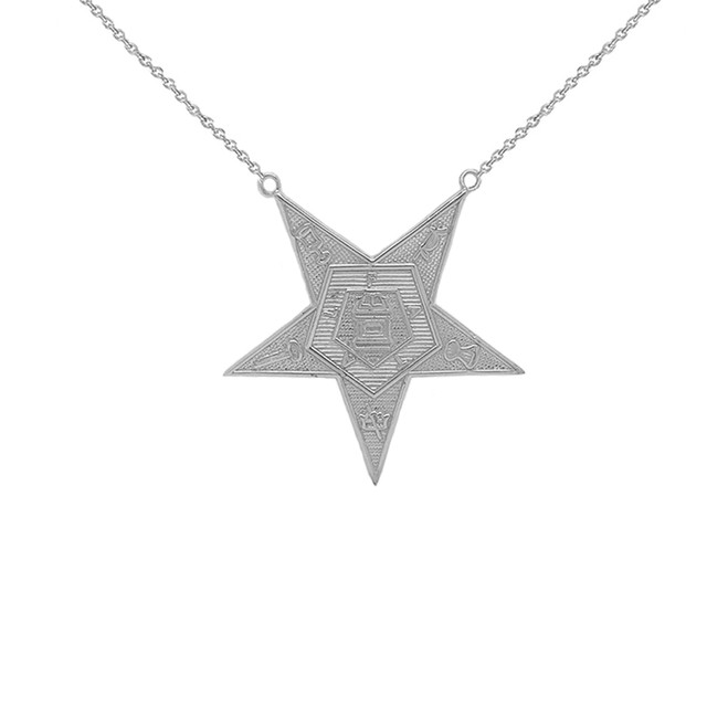 Order of the Eastern Star (OES) Masonic Necklace in Sterling Silver