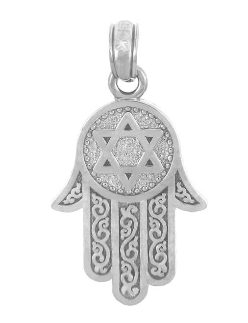 Jewish Charms and Pendants -  White Gold Star of David Hamsa Pendant