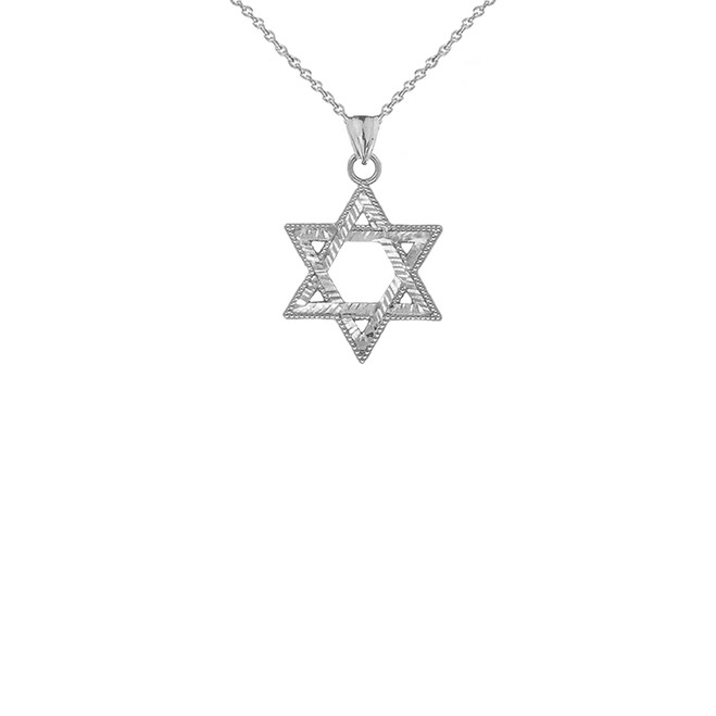Sparkle-Cut and Milgrain-Edged Star of David Pendant Necklace in Sterling Silver