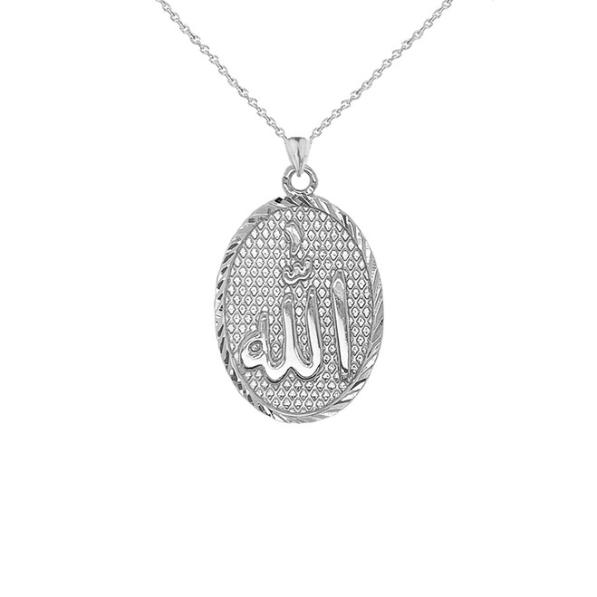 Sparkle-Cut Allah Oval Pendant Necklace in Sterling Silver