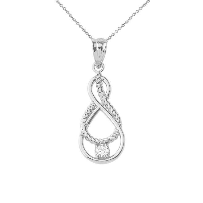 Dainty Diamond Double Infinity Knot Pendant Necklace in Sterling Silver (Large)