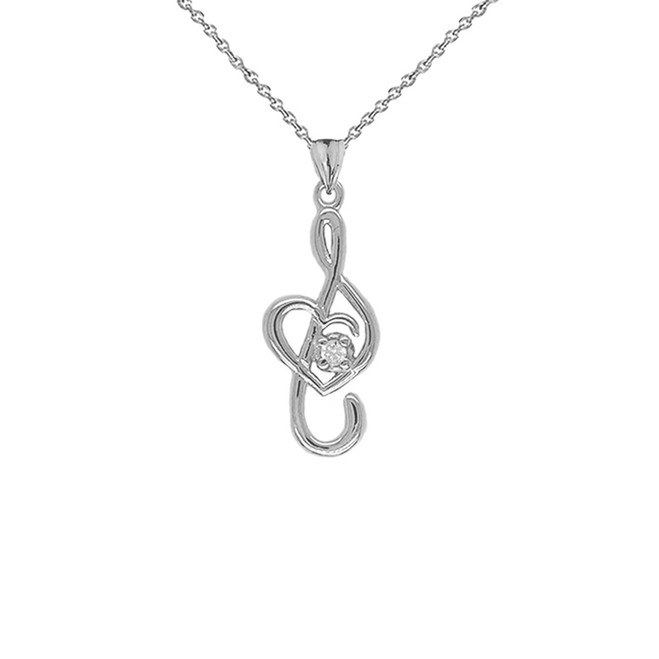 Dainty Diamond Treble Clef Heart Music Note Pendant Necklace in Sterling Silver (Large)