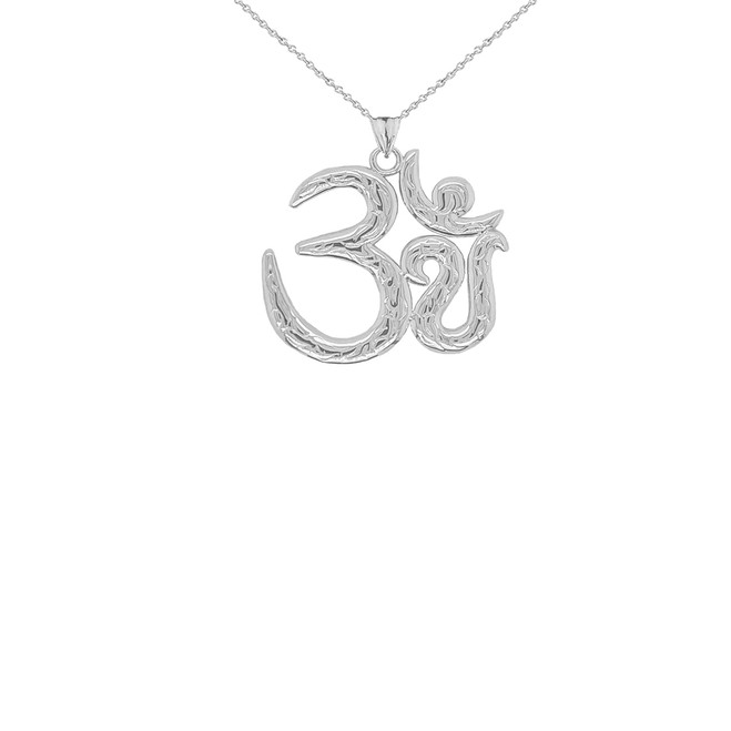 Om/Ohm/Aum Meditation Yoga Charm Pendant Necklace in Sterling Silver (Small)
