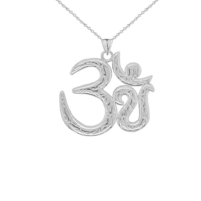 Om/Ohm/Aum Meditation Yoga Charm Pendant Necklace in Sterling Silver (Large)