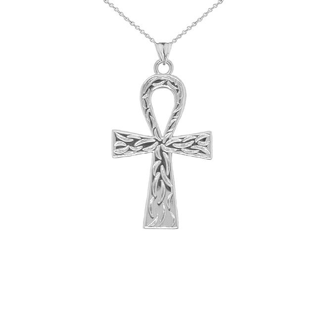 Ankh Cross Charm Pendant Necklace in Sterling Silver (Large)