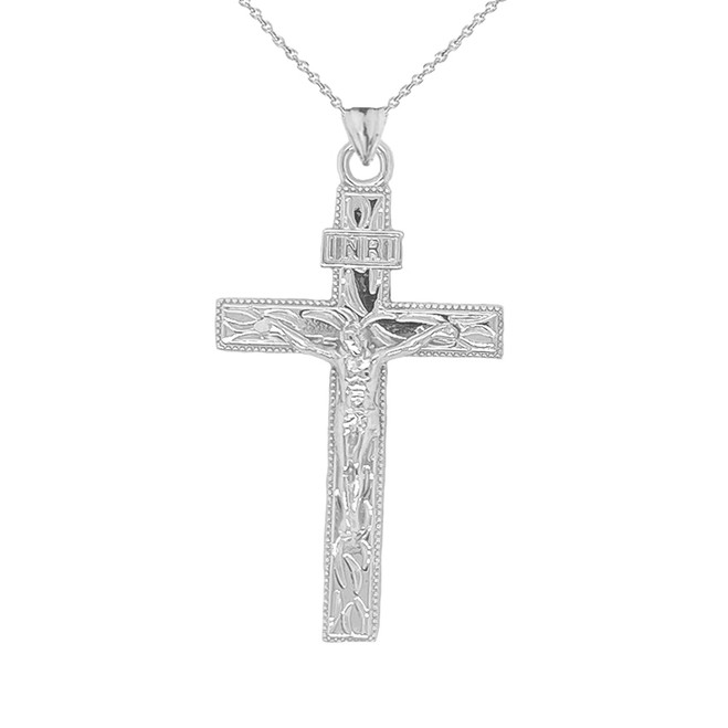 Jesus Christ INRI Crucifix Cross Pendant Necklace in Sterling Silver (Large)