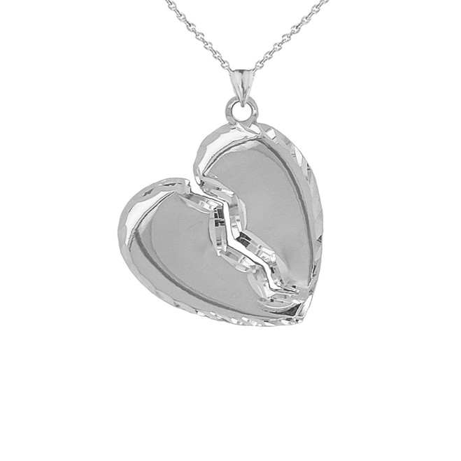 Sparkle-Cut Edged Broken Heart Pendant Necklace in Sterling Silver