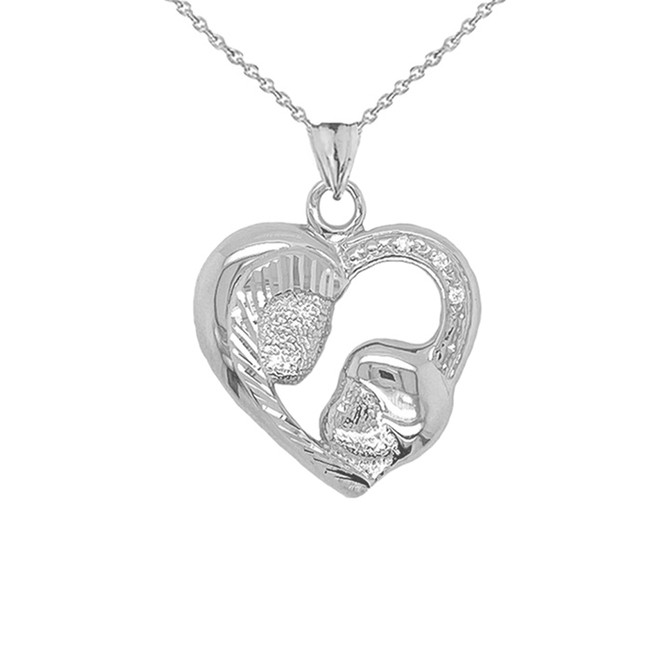 Diamond Studded Mother and Child Heart Charm Pendant Necklace in Sterling Silver