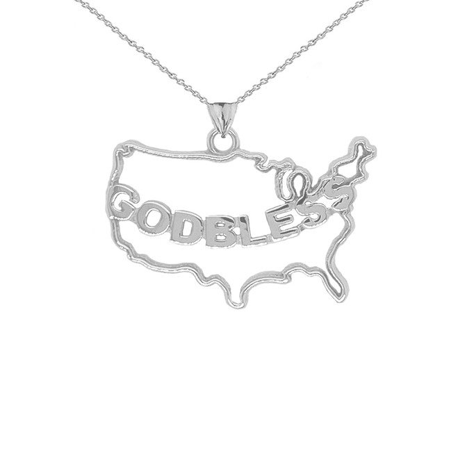 """""""GOD BLESS"""" America Outline Pendant Necklace in Sterling Silver"""