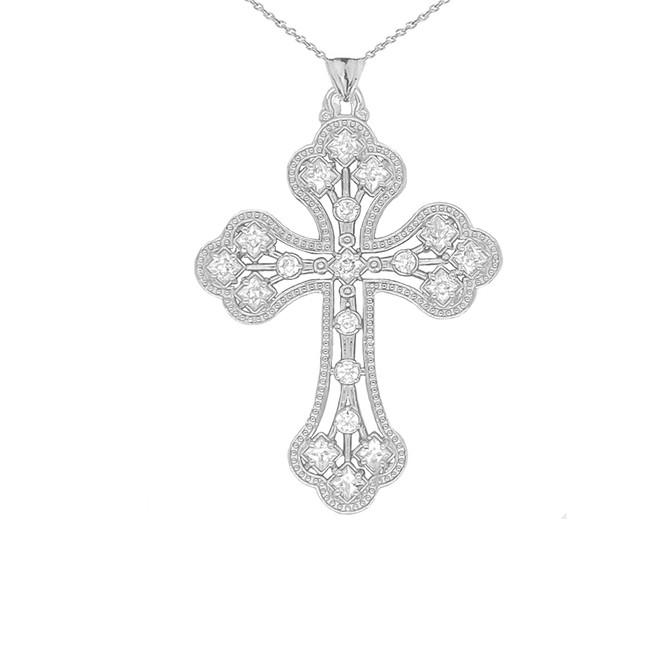Milgrain Designer Cross Pendant Necklace in Sterling Silver