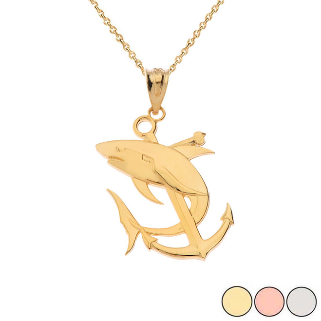 Anchor With Shark Pendant Necklace in Gold(Yellow/Rose/White)