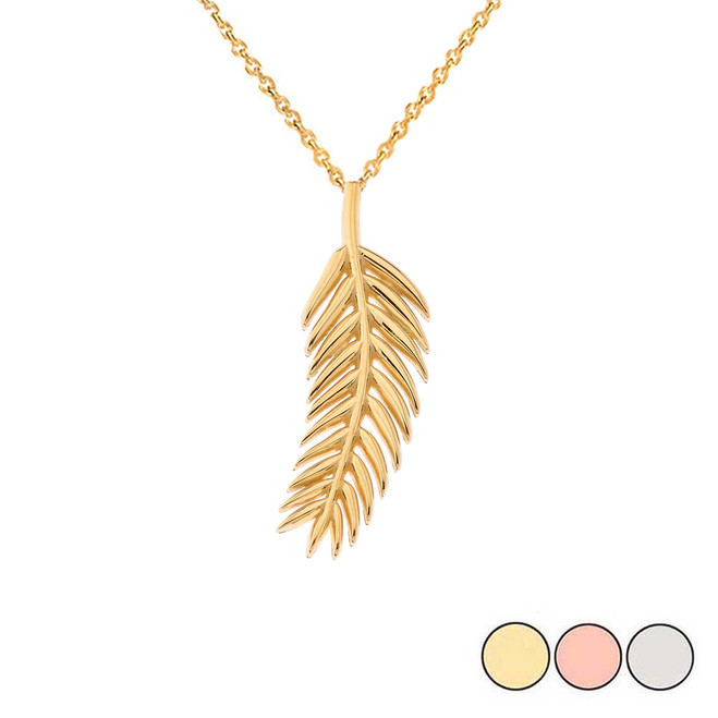 Olive Leaf Pendant Necklace in Gold(Yellow/Rose/White)