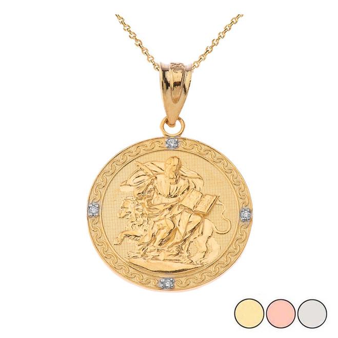 Saint Mark Round Diamond Pendant Necklace (Yellow/Rose/White)