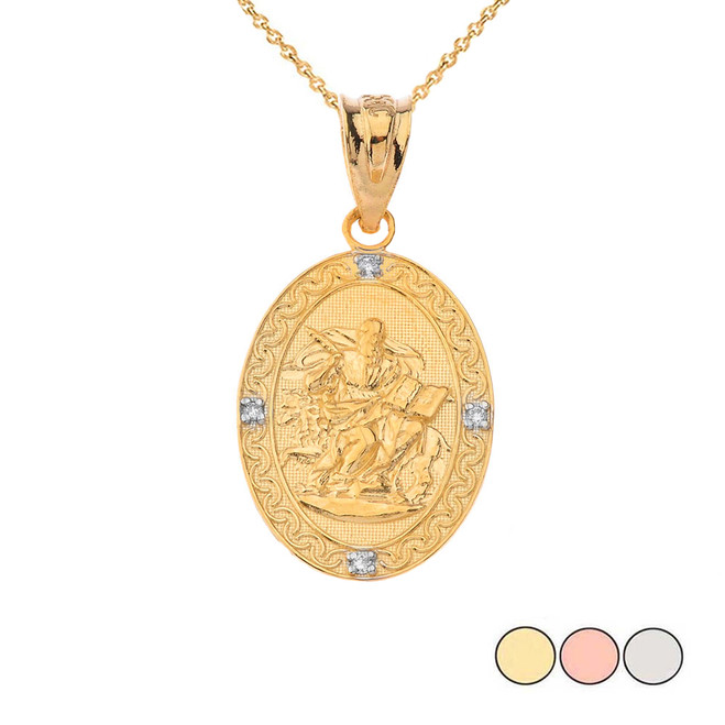 Saint Mark Oval Diamond Pendant Necklace (Yellow/Rose/White)