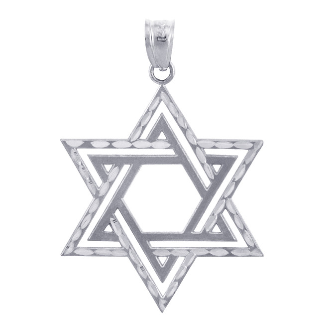 Jewish Charms and Pendants - Star Satin Silver Cross of David