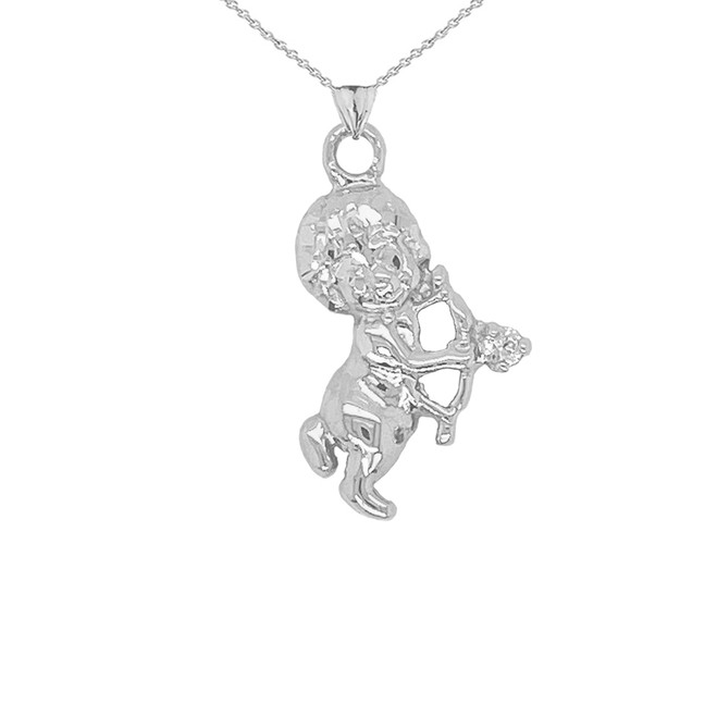 Diamond Cupid Pendant Necklace in Serling Silver