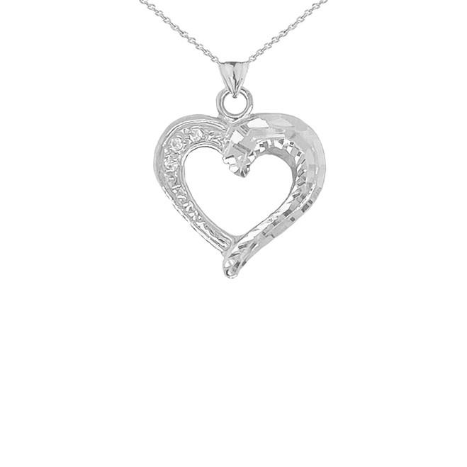 3-Stone Diamond Sparkle-Cut Open Heart Pendant Necklace in Sterling Silver
