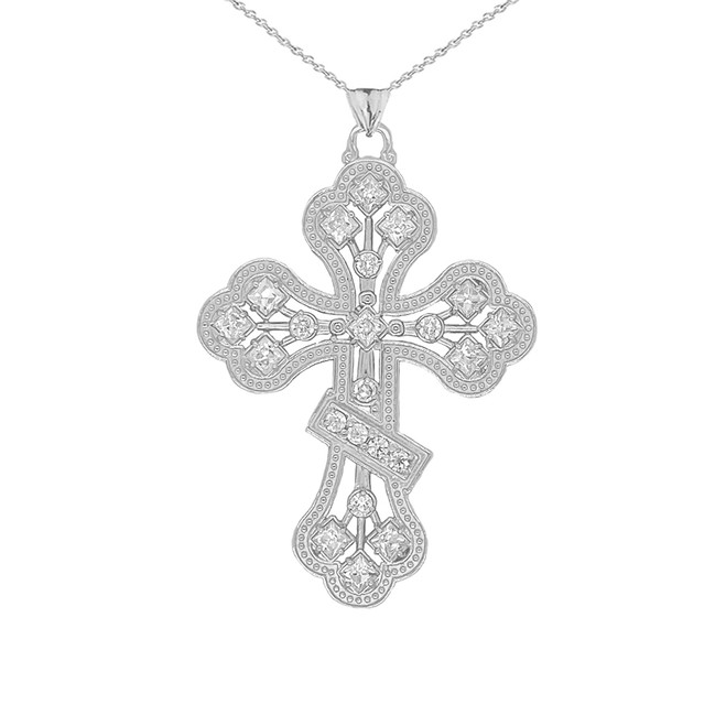 Russian Orthodox Designer Cross Pendant Necklace in Sterling Silver