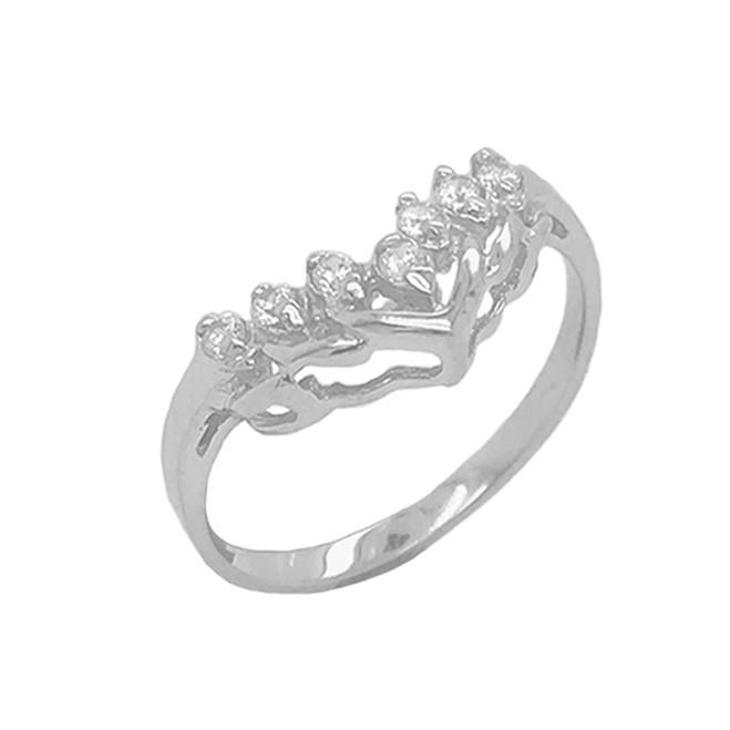 7-Stone Chevron Wedding Ring in Sterling Silver