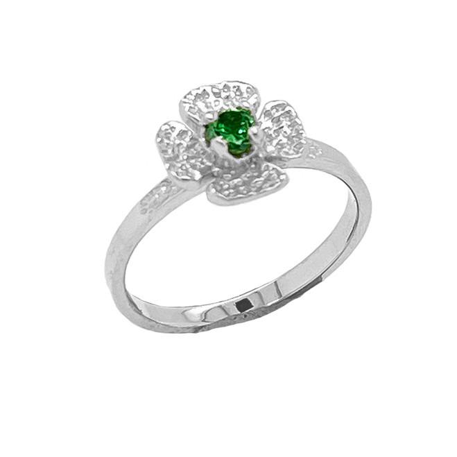 Solitaire May Birthstone Flower Ring in Sterling Silver
